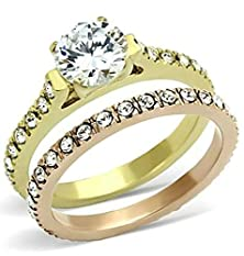 buy Beydodo 18K Gold Plated Women'S Ring (Promised Rings) Cubic Zirconia Double Lines Size 10 Gold