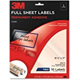 3M Permanent Adhesive Full Sheet Labels, 8.5 x 11 Inches, Clear, 10 per Pack (3500-M)