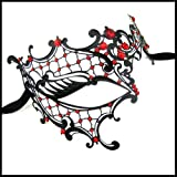 Burlesque-Boutique Half Face Laser Cut Black Finish with Red Crystal Rhinestones Decor Venetain Mask