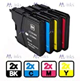 8x Compatible Brother DCP-J315W DCPJ315W printer ink cartridges - (2 Black 2 Cyan 2 Magenta 2 Yellow) to replace Brother LC985 LC39 cartridges