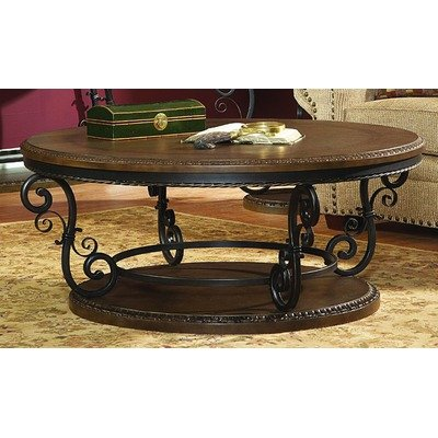 Buy Low Price 5552 Series Round Coffee Table With Metal Scroll Work 5552 01 Coffee Table Bargain
