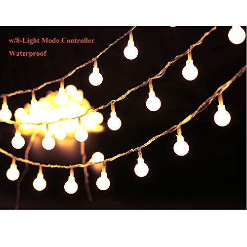 36ft Outdoor Globe String Lights LED Warm White Fairy Twinkle Lights(3/4