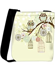 Snoogg Owl Winter Floral Background Owls Out Of Their Cages Concept Vector Womens Carry Around Cross Body Tote...