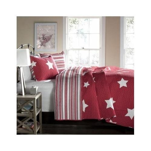 Full/queen Teen Girls Kids Reversible Red White Stars and Stripes Quilt Bedding Set with Shams Includes Scented Candle Tarts