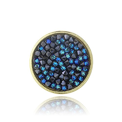Gold Tone Bermuda Blue Crystal Rocks Ring Made with Swarovski Elements (Bermuda Blue Crystal Ring compare prices)