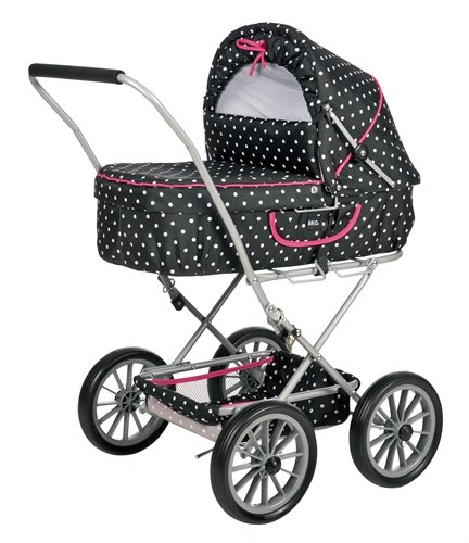 BRIO 90121 BRIO Doll Pram Gull Black with Dots