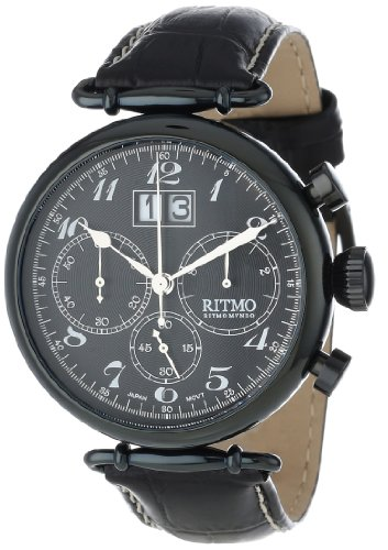 Ritmo Mundo Unisex 701/7 Black  Corinthian Classic Quartz Chronograph Three Oversized Subdials Watch