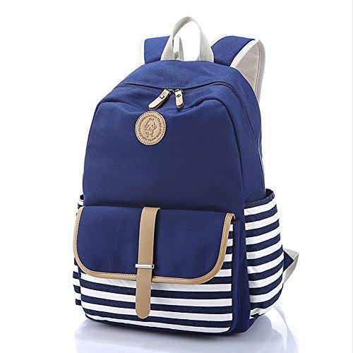 Esther Beauty Preppy francés bretón mochila Mochila Marine marinero rayas nauticas Marina Stripy bolsas escolares para niñas y varones adolescentes