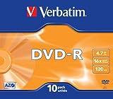 Verbatim 43655 DVD-R 4.7GB 16x Disc in Slim Case - Matt Silver (Pack of 10)