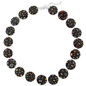 """Hand -Blown Multi-Colored Black Flat Round Disc Glass Bead and Sterling Silver Bead Necklace, 16+3"""" Extender"""