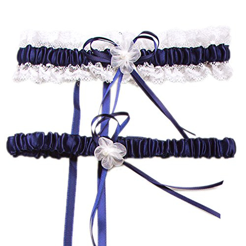 Aurora Bridal® Wedding Accessories Lace Garter for Bridal Dark Blue