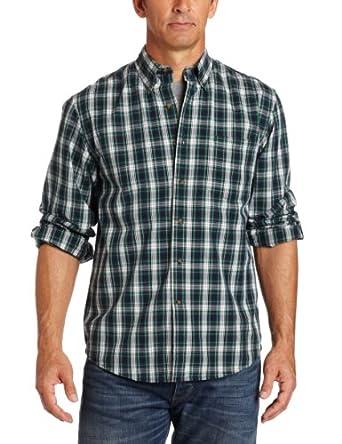 IZOD Men's Long Sleeve Button Down Poplin Tattersall Shirt, Green Acres, XX-Large