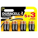 Duracell MN1500 Plus Power Alkaline Battery AA Size 5 + 3 Free (8 Pack) (1.9)