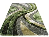 Green Lime Sage 3D Shaggy Area Rug 8 x 10 Two Toned Hand Woven Tufted 3 Dimensional Viscose Yarns Thick Pile 1011