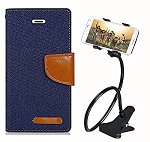 Aart Fancy Wallet Dairy Jeans Flip Case Cover for MeizumM2 (Navy Blue) + 360 Rotating Bed Moblie Phone Holder Universal Car Holder Stand Lazy Bed Desktop by Aart store.
