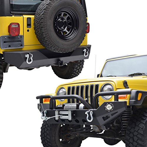E-Autogrilles TJ YJ Jeep Wrangler Black Textured Front Bumper with LED Lights and Rear Bumper Combo
