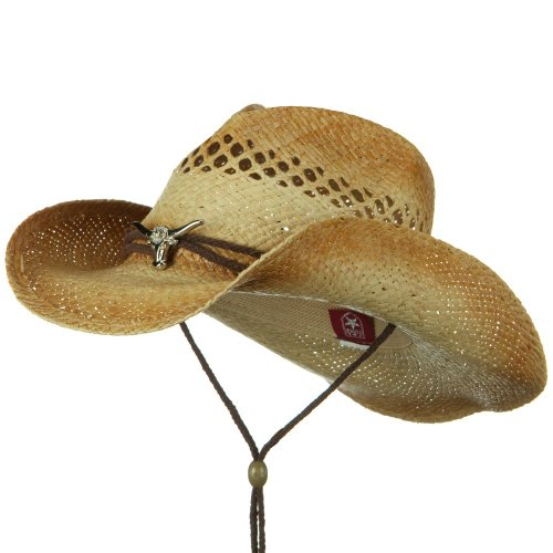 c13c8410e2e Mens Straw Sun Hat  String Band Raffia Cowboy Straw Hat