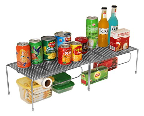 ESYLIFE Expandable Kitchen Cabinet Rack Counter Shelf Organizer with 8 Transparent Rubber Cover, Silver
