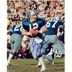 Roger Staubach Autographed Hand Signed Dallas Cowboys 8x10 Photo (Blue Jersey... by Hall of Fame Memorabilia