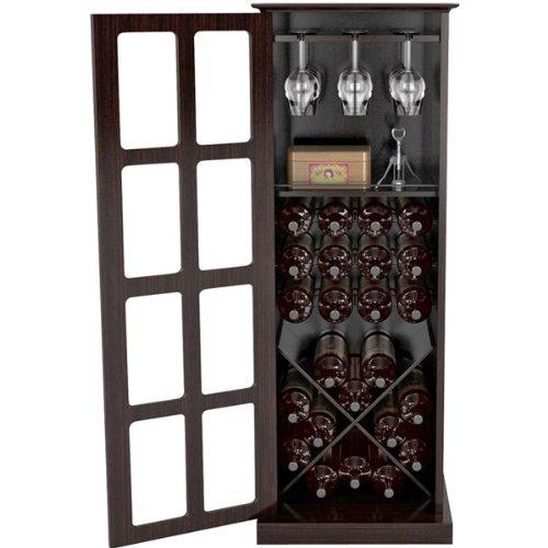 Espresso Wine Cabinet With Glass Windopane Door front-593062