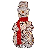 National Tree White Rattan Snowman with 35 Clear Lights, 24-Inch