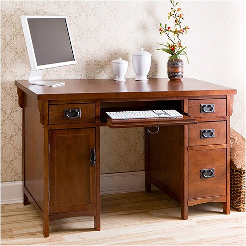 Southern Enterprises CSN8088 Collins Mission Computer Desk in Brown Mahogany