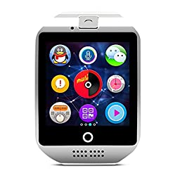 Amanstino Wireless Smartwatch with Camera Original Q18 Tf/sim Card Slot for Ios(partial Functions) & Android(full Functions) Devices/iphone 6/6 Plus/5c/5s/5 Samsung Galaxy/note(8g White)