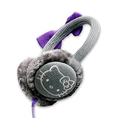 Hello Kitty Cosy Kitty Kintted Ear Muff Headphones Grey with Purple Bow