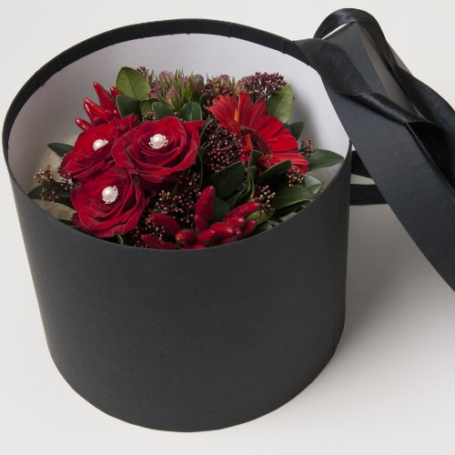 Fresh Flowers Delivered - Luxury Red Roses and Gerbera Fresh Flowers Hat Box