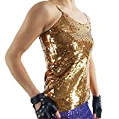 ☆IBA9535 スパンコールキャミ(両面タイプ) ゴールド |スパンコール ダンス衣装|コスプレ 衣装|ステージ ダンス 衣装|マジック 衣装|ダンス コスチューム|チアガール 衣装|コスチューム|パーティードレス|パンク ロック ファッション|仮装