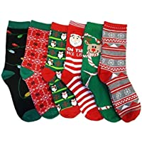 6 Pairs Refael Collection Christmas Style Socks, Size 9-11