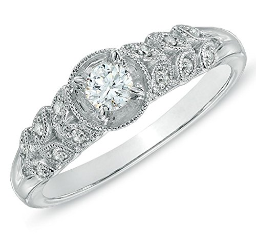 0.58 Carat Antique Cheap Engagement Ring with Round cut Diamond on 14K White gold