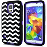 Sean® Chevron Waves Pattern Hybrid Protective Case with Combo Defender Shockproof Function for Samsung Galaxy S5 I9600 (Purple)