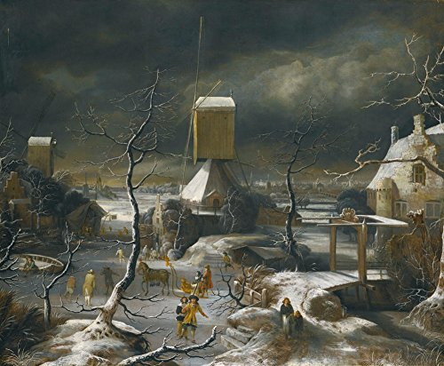 Jan Beerstraaten - Winter Landscape with Figures Skating, Canvas Art Print by YCC, Size 11x14, Canvas Print Rolled in a Tube