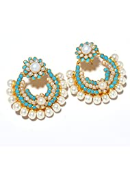 Earring Set Fashion AD New Bollywood Pearl Pacchi One Gram Gold Plated Polki Natural Jhumka - B00OKF88NW