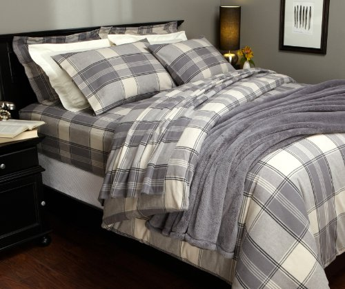 Lowest Price! Pinzon Lightweight Cotton Flannel Duvet Cover - Full/Queen, Grey Plaid