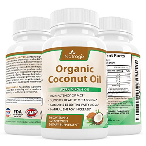 100% Organic Virgin Coconut Oil 4000mg Per Serving - 360 Softgels - Highest Potency on the Market - Improves for Hair, Skin, Digestive Health, and Healthy Immune System (Extra Virgin Aloe Vera Gel compare prices)