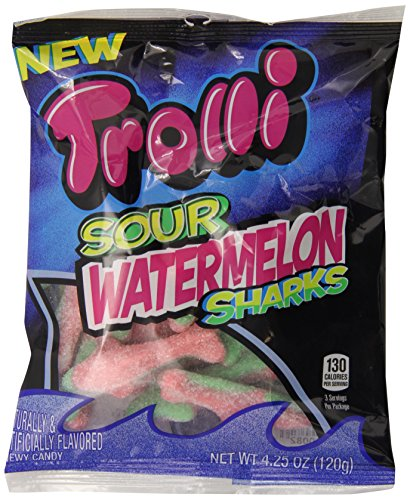 Trolli Sour Watermelon Sharks Gummy Candy, 4.25 Ounce Bag, Pack of 12 (Trolli Sharks compare prices)