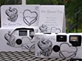 Photography - 10 Pack Antique Silver Hearts Wedding Disposable 35mm Cameras in Gift Boxes with Matching Tents 27 Exp.