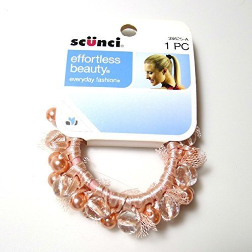 Scunci Effortless Beauty Elegant and Sophisticated Super Cute Beaded and Ribbon Laced Pony Tail Holder(colors May Vary) by Scunci