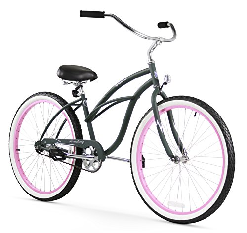 Firmstrong Urban Lady Single Speed Beach Cruiser Bicycle, 26-Inch, Army Green w/ Pink Rims (24 Beach Cruiser Rims compare prices)