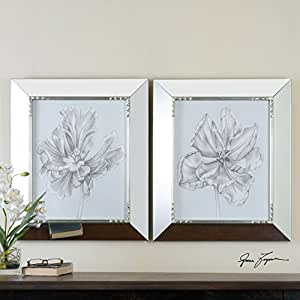 Mirror framed floral sketch print artwork for Modern mirrored wall art