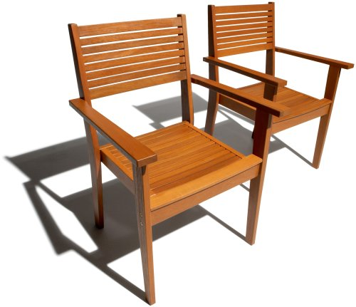 Strathwood Sheffield Dining Stackable Hardwood Armchair, Set of 2