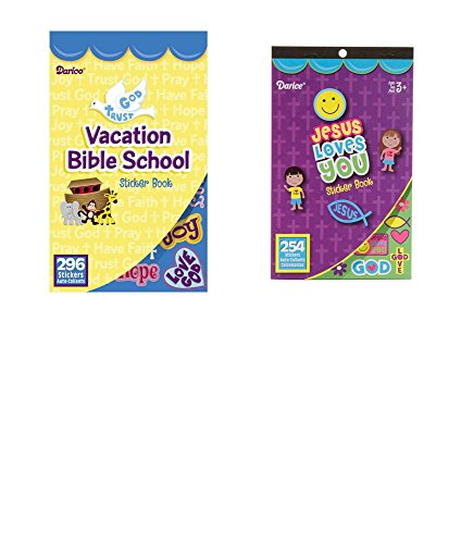 2 BOOKS of Mini RELIGIOUS STICKERS - 254 JESUS Love You & 296 VBS Vacation Bible School (550 total stickers) Christian Kid's ACTIVITY/Craft PARTY Favors