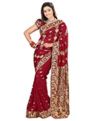 Designer Impressive Maroon Colored Embroidered Faux Georgette Saree By Triveni