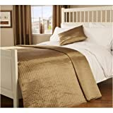 Double Quilted Passionate Faux Silk Bedspread in Gold