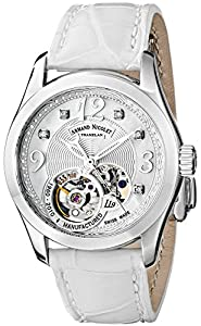 Armand Nicolet LL9 9653A-AN-P953BC8 34mm Diamonds Automatic Stainless Steel Case White Leather Anti-Reflective Sapphire Women's Watch
