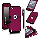 E-LV Two Tone Hard and Soft Hybrid Armor Combo Case for Apple iPod Touch 5 5th Generation with 1 Free Screen Protector, 1 Black Stylus and 1 E-LV Microfiber Digital Cleaner (Purple with Black) Reviews