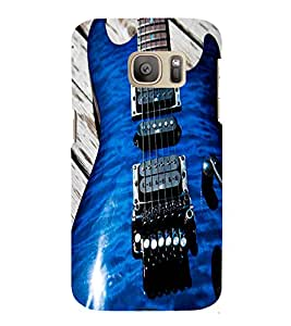 Fuson Premium Back Case Cover BLUE STYLISH GUITAR With Others Background Degined For Samsung Galaxy S7::Samsung Galaxy S7