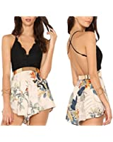 Moxeay® Sexy Womens Floral PrintedV-neck Halter Jumpsuits(Size 4/6/8/10)